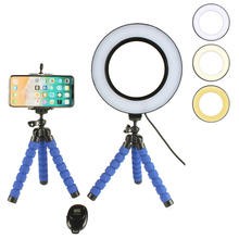 Selfie Ring Light with Wireless Remote Cell Phone Holder Flexible Tripod Stand LED Camera Lamp 360° Rotating for iOS Android