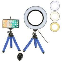 Selfie halka ışık kablosuz uzaktan kumanda ile cep telefonu tutucu esnek Tripod standı LED kamera lambası 360 ° dönen iOS Android için