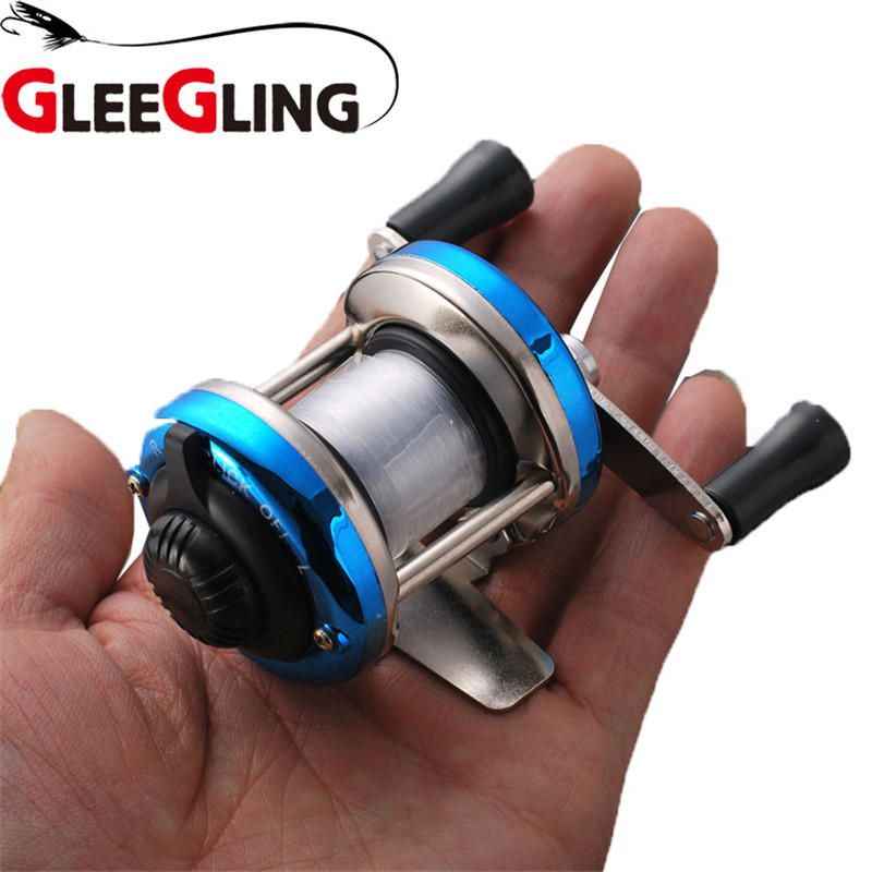 GLEEGLING Mini Metal Ice Fishing Wheel 3.0:1 Ratio Lure Wheel Bait Casting Flying Fishing Trolling with 90m Nylon Fishing Line