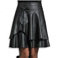 Nova primavera fêmea de couro curta busto saia de cintura alta PU pequena saia de couro saia plissada