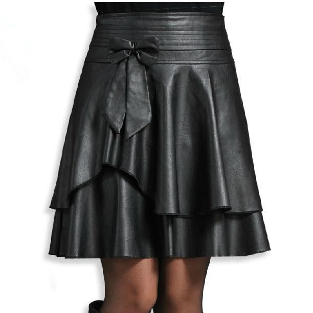 New  Spring  Leather Female  Short Bust Skirt High Waist   PU Small Leather Skirt Pleated Skirt