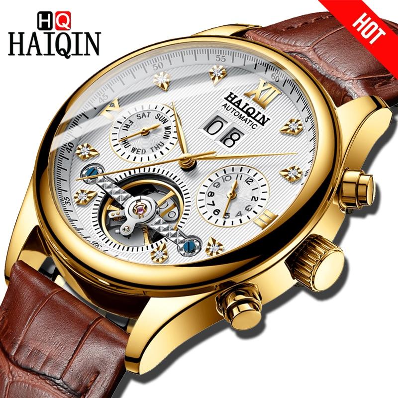 HAIQIN TOP Brand Automatic mechanical Men s Watch Business Dress Watch men Leather Waterproof Male Wristwatch