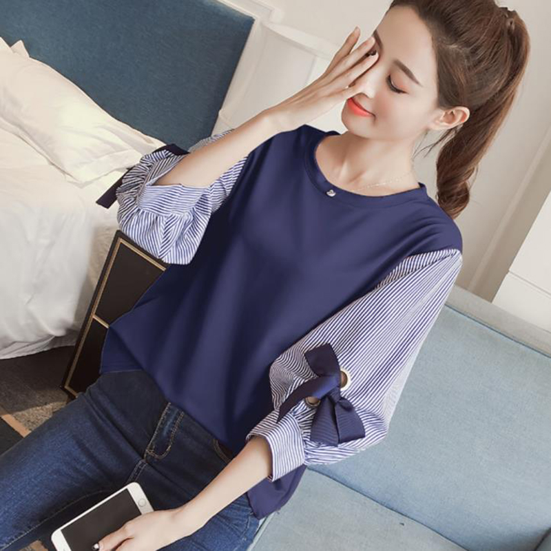 2019 New Spring Summer Women Bow Chiffon Blouse Patchwork Shirts Office Lady Lantern Sleeved Solid Loose Casual Tops 0.2
