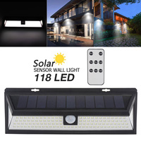 Remote Control 1000LM 118 LED Solar Lamp PIR Motion Sensor Waterproof IP65 270 Degree Outdoor Park Garden Security Wall Light