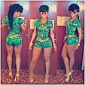 New Fashion 2016 Summer short jumpsuit for women rompers women bodycon sexy green print jumpsuit bandage Jumpsuits