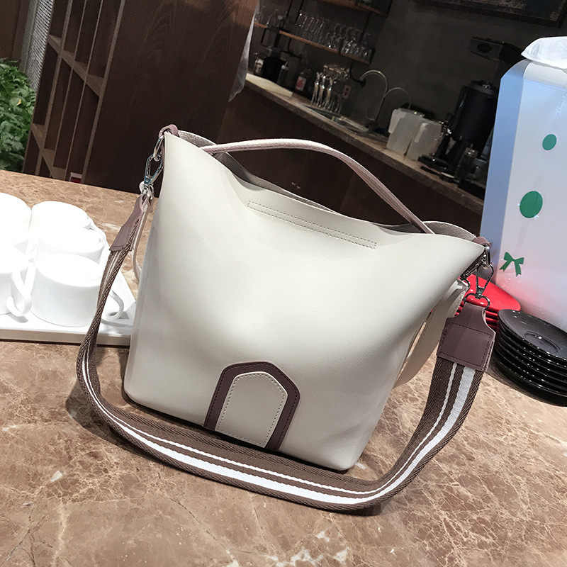 Large Capacity Women PU Bucket Shoulder Tote Bags Female Handbags Coloured Wide Strap Ribbon Leather Messenger Bag