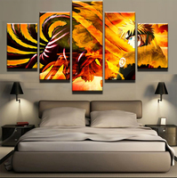 5 Pieces Modular Picture Naruto Animated Cartoon Characters Modern Home Wall Decor Canvas Picture Art HD