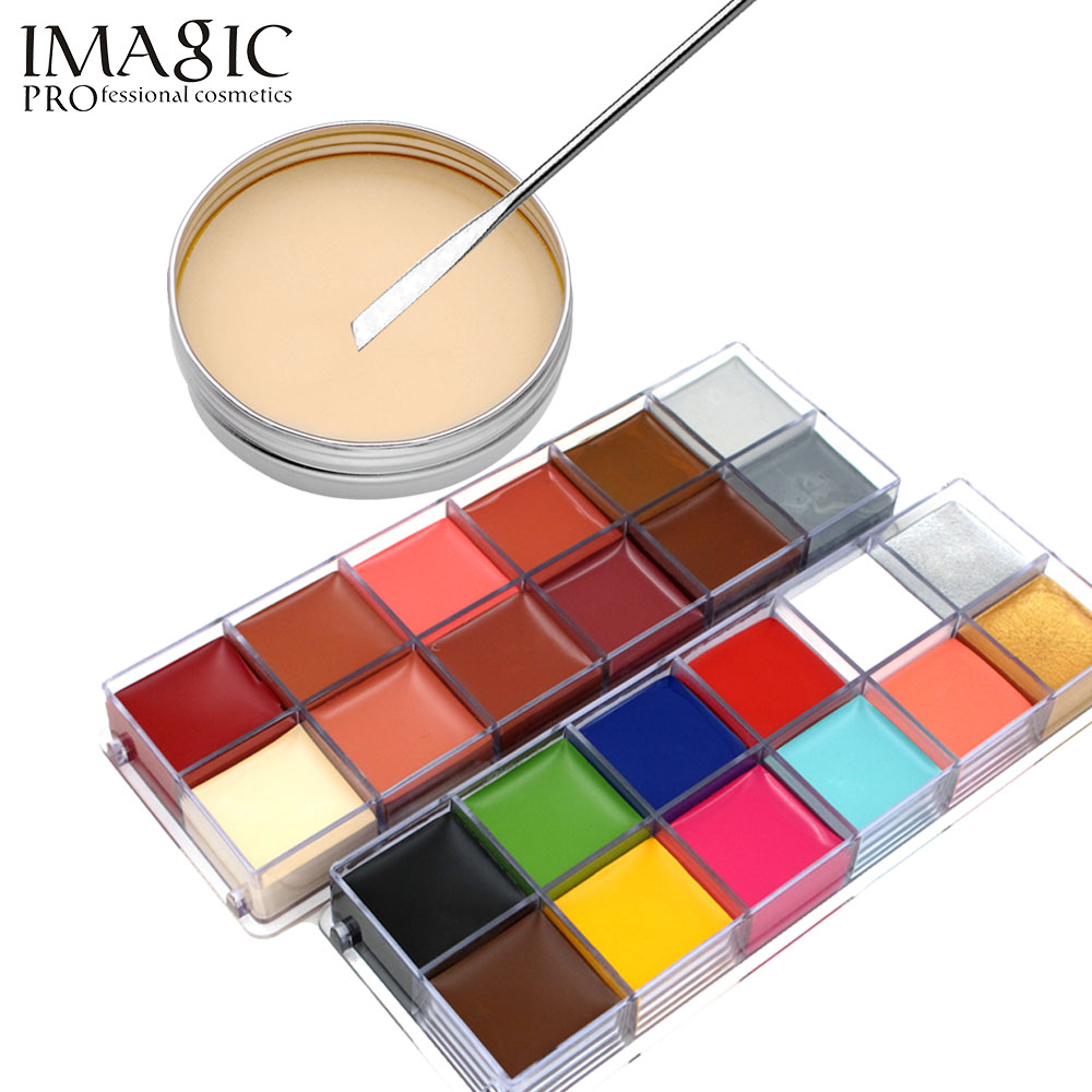 imagic halloween body painting flash tattoo scars wax set 12 color body painting makeup fake wound pigments make up tools - Halloween Fake Wounds