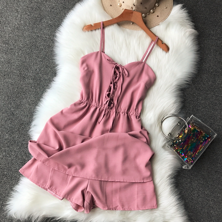 2019 vintage women   jumpsuits   sexy solid short loose lace up shorts lady elegant beach style party outwear fashion clothing