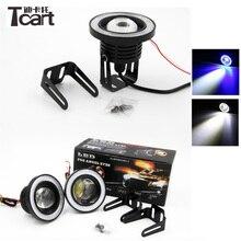 Tcart 2 pz LED Auto Luce di Nebbia Con Lente COB Angel Eyes 3.5 pollici 89mm Proiettore Halo Anelli Led Bianco Fari Lampade Per Toyota Corolla