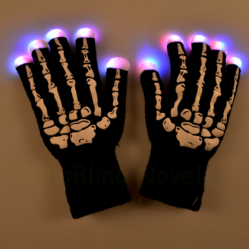 2019 Halloween Light Up Flashing Gloves Multicolor LED Gloves with Skeleton