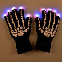 2019 Halloween Light Up Flashing Gloves Multicolor LED Gloves with Skeleton
