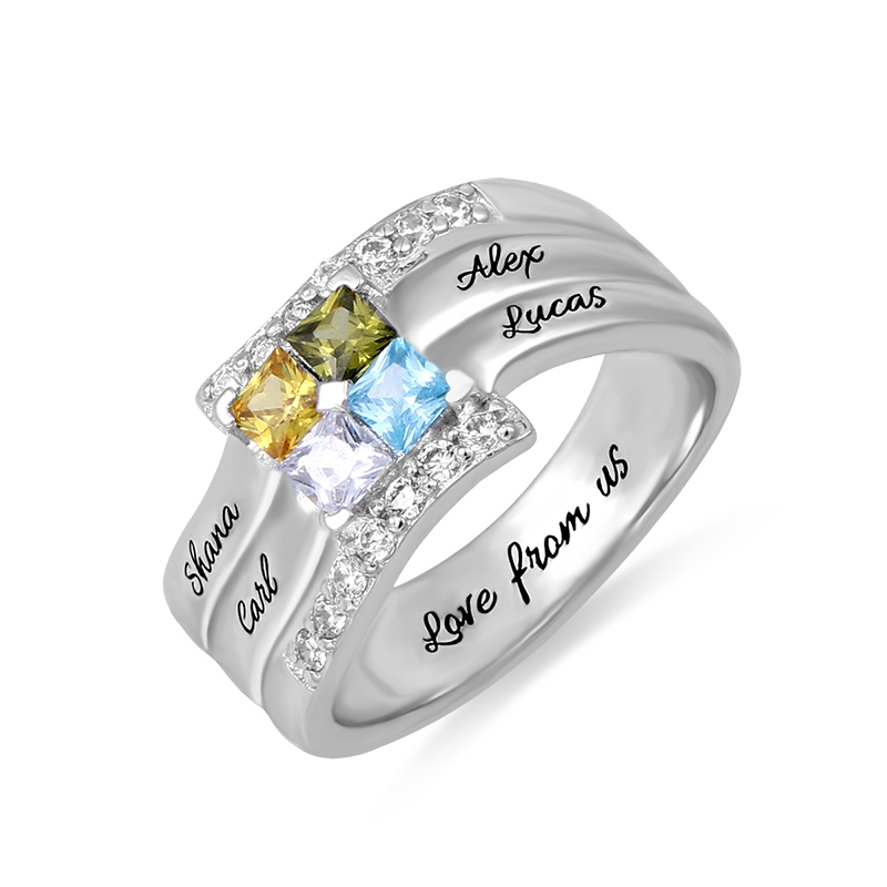 AILIN Engraved Sterling Silver Ring For Family Cubic Zirconia Quad Birthstone Ring For Her Special Gift