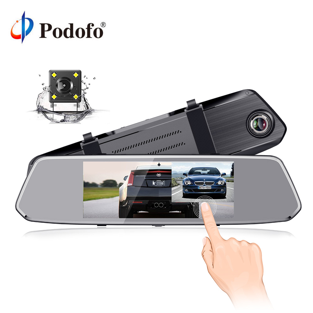 Podofo 7 Car Rear View Mirror Monitor Touch Button TFT LCD Rear View Camera Night Vision Auto Parking Reverse Rearview Monitor