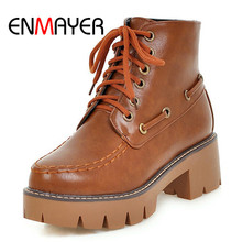 ENMAYER 2018 New Arrival women solid lace up round toe ankle boots lady square heel platform  Big 34-43 ZYL303