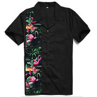 Summer Men's Floral Flamingo Shirt Short Sleeve Turn Down Collar Party Shirts Punk Flamingo Men Clothing Soft Comfortable