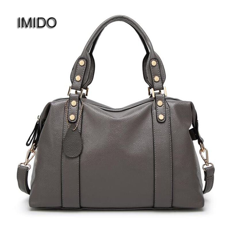 IMIDO Brand Designer Women Handbags Leather Shoulder Bag Retro Totes Daily bags for ladies Crossbody Bag Gray Black Blue HDG006