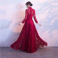 Bridesmaid Dresses Wine Red Chinese Traditional Wedding Dress Modern Lace Long Cheongsam Qipao Robe Oriental Bride Traditions