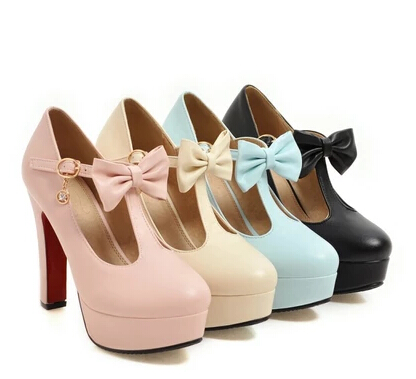 2017 spring and summer new high heels female thick with a single pink waterproof platform round black large size single shoes high heels