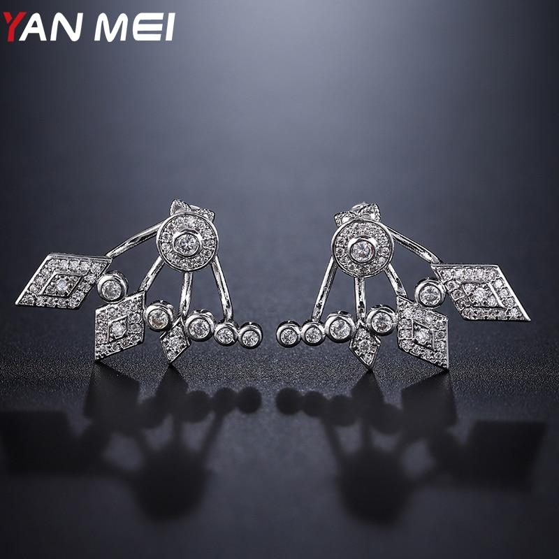 YANMEI Rhinestone Geometric Stud Earrings For Women Rhombus Round Crystal Earring Mirco Pendientes Fashion Jewelry YME9064