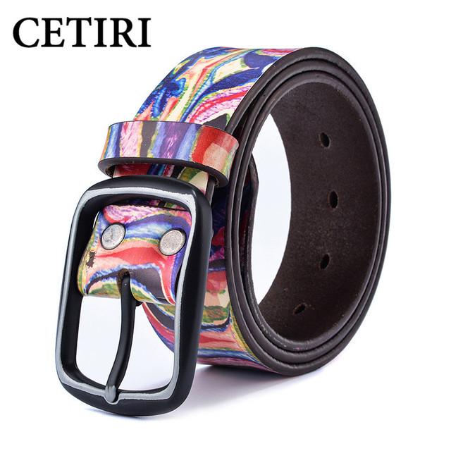 Mujeres Pantalones Vaqueros de Los Hombres Cinturones de Diseño Colorido Graffiti Impreso Real Correa de Cuero Genuina Correa de La Novedad Riem Cowgirl Cinturones Damas