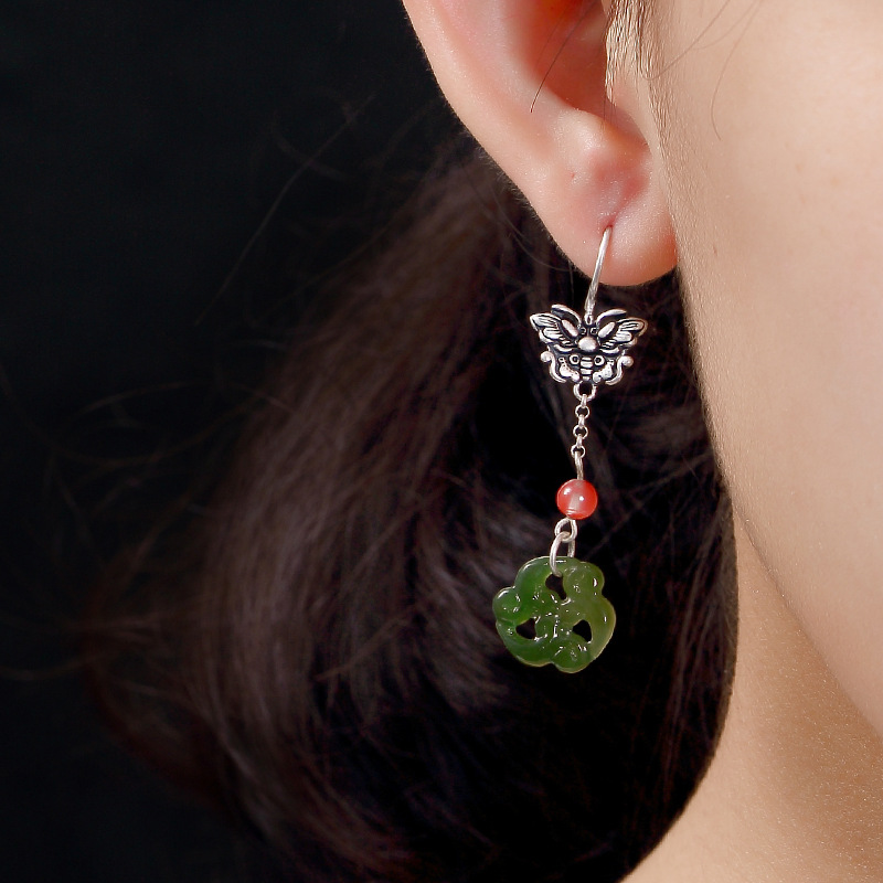 Pure Silver Ways Old Mosaic Hetian Jade Jade Plum Flower Butterfly Pendant Earrings Wholesale