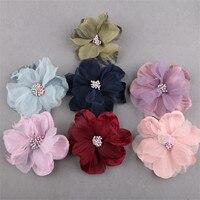 Precio al por mayor 20 unids 75mm romántica gasa flores Niñas Bisutería para pelo DIY ornamento Accesorios botón floral Patch palo