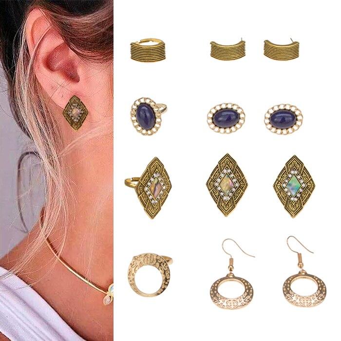 12 stücke Vintage Antient Gold Ohrringe Ring Schmuck Sets Beinhalten 4 Ringe 4 Pairs Ohrringe Großhandel Punk Kristall Edelstein Schmuck set