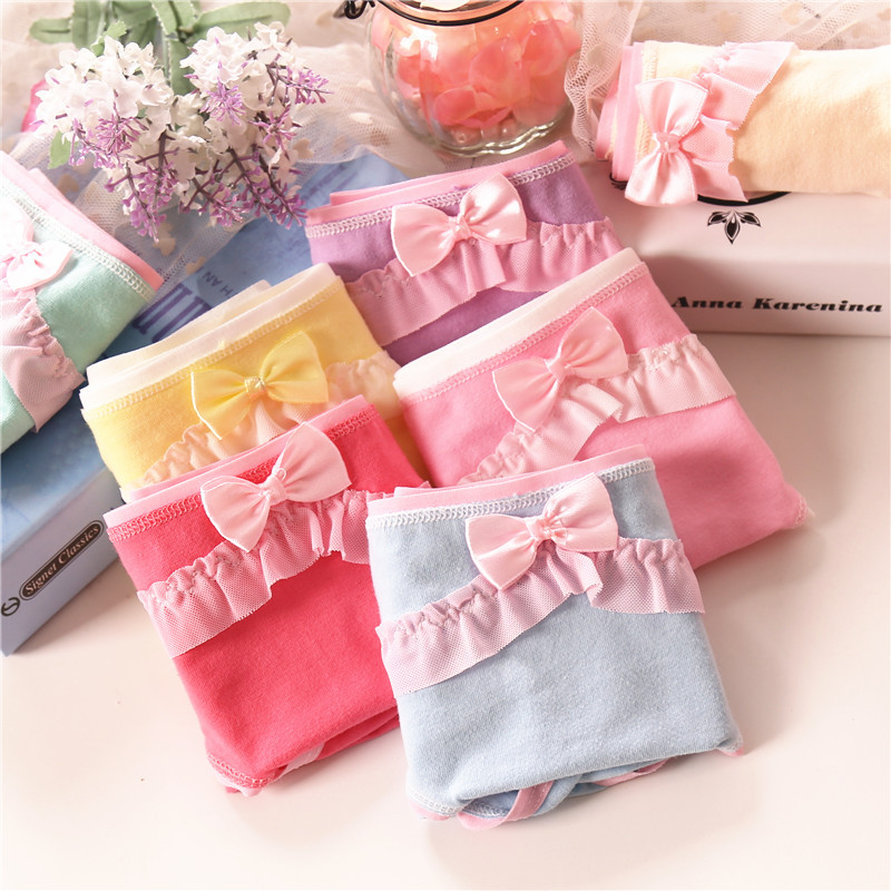 New Teen Panties For Girls Short Briefs Low Waist Cotton Solid Color Bow Cute Lace Panties For Womans Underwear Girls Panties K