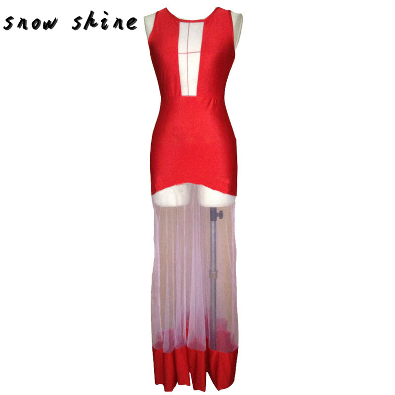 snowshine YLI 1PC Sexy Red Womens Celeb Lace Long Sleeve Bodycon Party free shipping