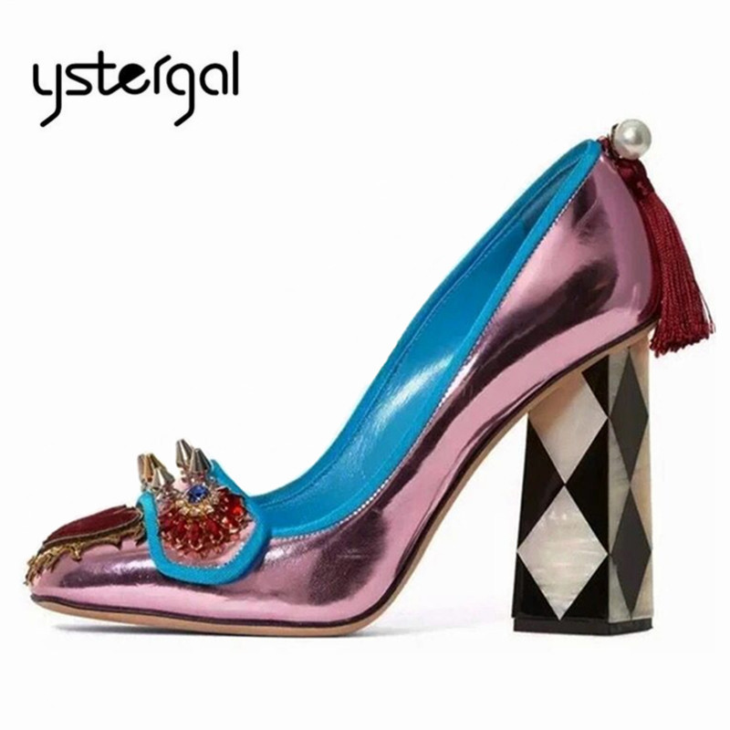 Ystergal Purple Pumps Women Shoes High Heels Rivets Studded Wedding Dress Shoes Woman Fringed Stiletto Zapatos Mujer-in Women's Pumps from Shoes    1