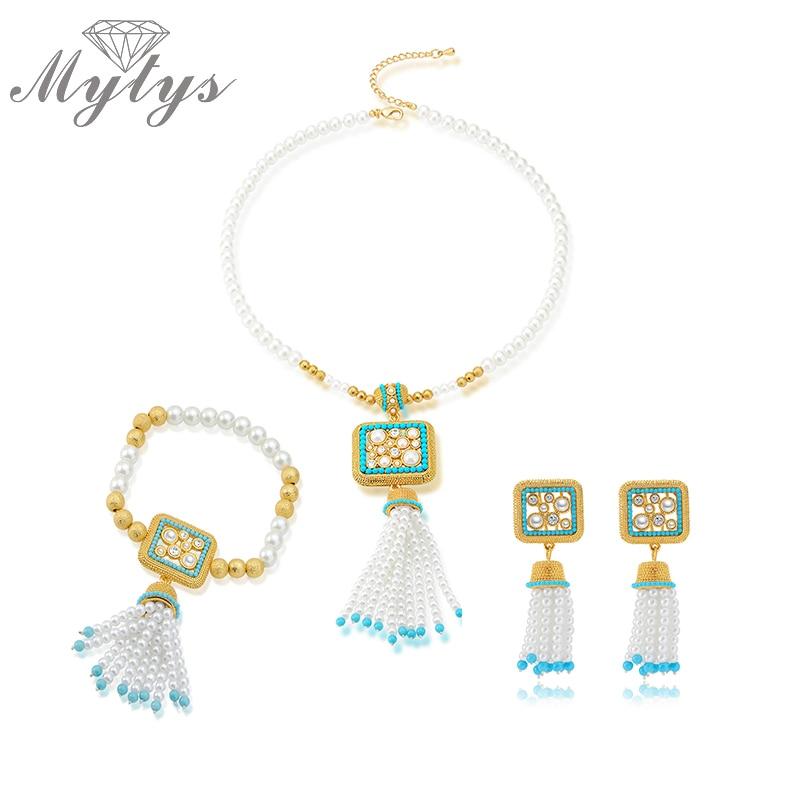 Mytys Ročno izdelana biserna ogrlica iz etničnih stilov Izjava - Modni nakit