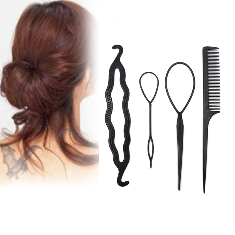 4Pcs Hair Twist Styling Hair Clip Stick Bun Meatball Head Maker Comb Braiding Accessories For Women Lady Girls Hair Ornaments
