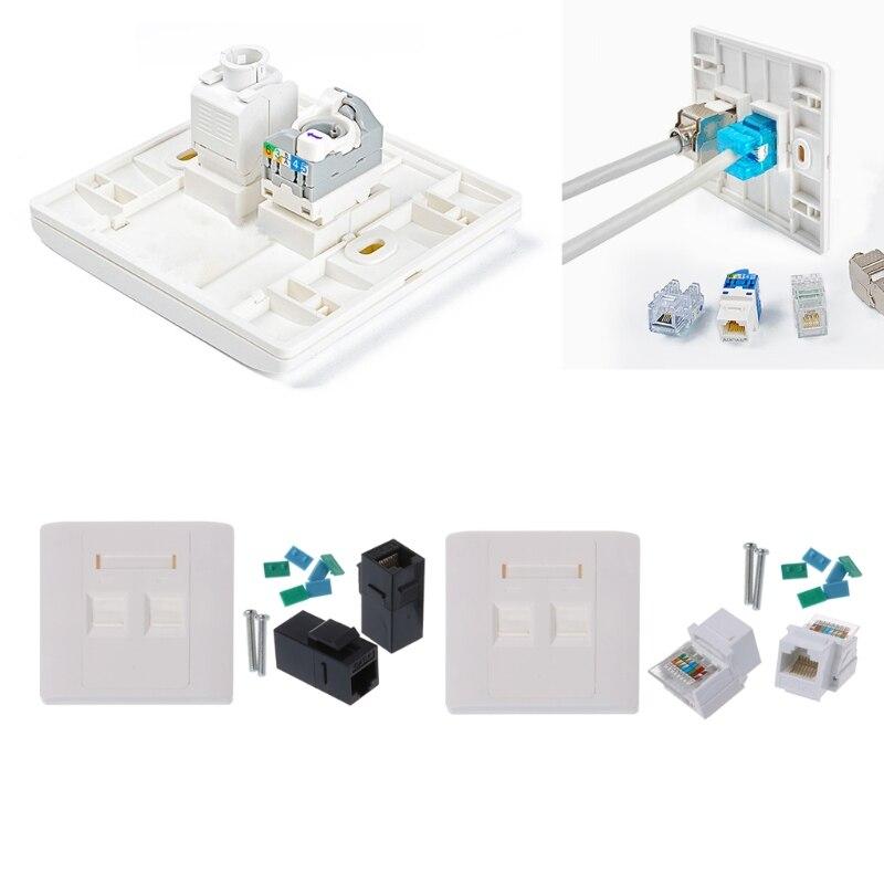 Network Tool kit 2 Порты CAT5e RJ45 сети Настенные тарелки с Женский Разъем