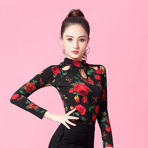 Image 2 - Flower Print Long sleeve Turtleneck cutout Latin dance clothes top for women/female,Ballroom Costume performance wear YT0207