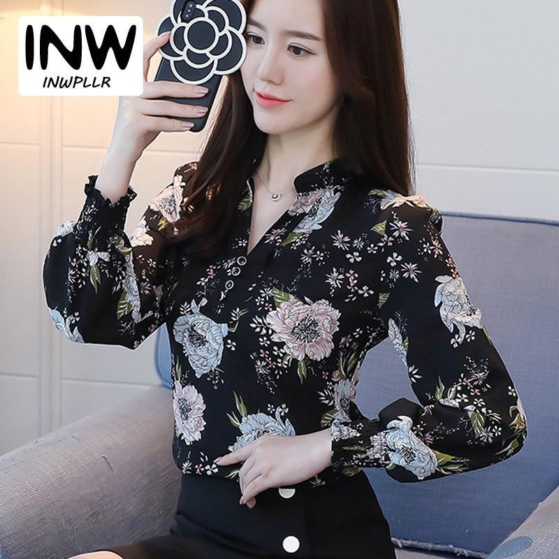 en venta cbd59 5fee4 € 10.66 30% de DESCUENTO Otoño Mujer blusa camisa estampado Floral Blusas  Mujer 2019 Moda cuello pico manga larga Mujer Tops talla grande chifón ...