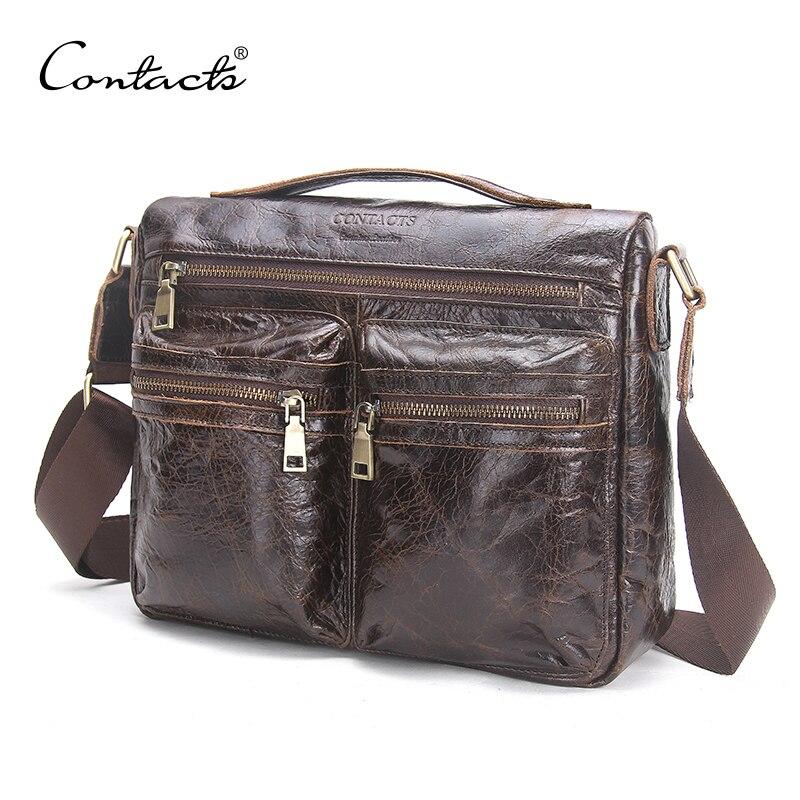 CONTACT'S 2018 осень новое поступление мужские сумки-мессенджеры для мужчин сумка через плечо хаки Мужская сумка на плечо деловые повседневные ...