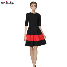 Oxiuly Autumn Black Patchwork Red A-Line Dress Chic Gorgeous Audrey Hepburn Ball Gown Half Sleeve Vintage Big Swing