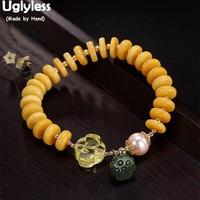 Uglyless Real Natural Amber Bracelets for Women Elastic String Beading Gemstones Bangles Jasper Lotus Charms Fine Jewelry Pearls