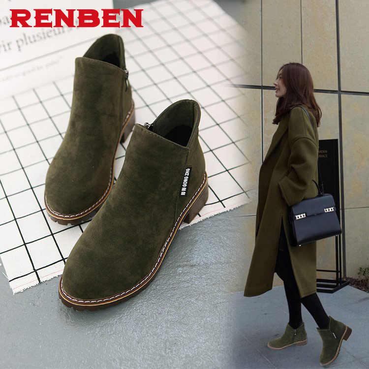 Yeni Moda Kadın martin Çizmeler Sonbahar Kış Çizmeler Klasik Fermuar yarım çizmeler Grind arenalı Sıcak Bayan Ayakkabıları