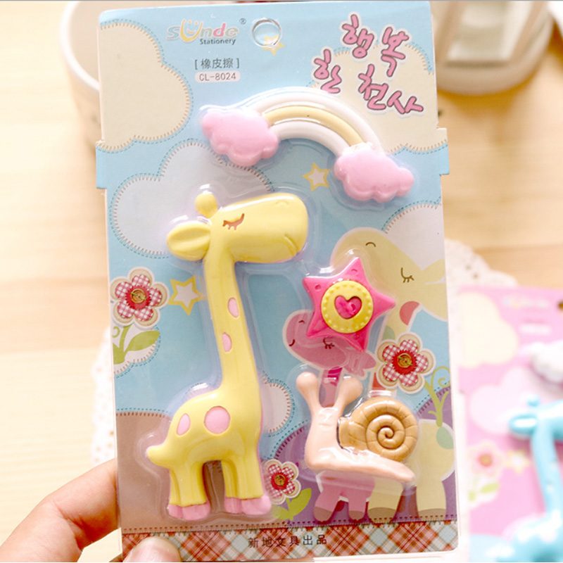 1Pcs Stationery Supplies Kawaii Cartoon Pencil Erasers cute giraffe Erasers office Correction Supplies Kid learning Gifts in Eraser from Office School Supplies