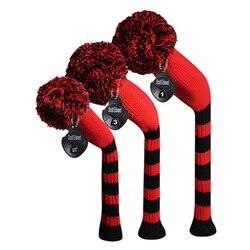 اللون الأحمر الأسود كبيرة المشارب نمط متماسكة الغولف غطاء الرأس ، مجموعة من 3 ل سائق/الممر السالك/الهجين