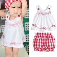 Kids Tollders Girls 3pcs Set Sleeveless Tops+Shorts+Scarf Outfits Costume 1-3Y