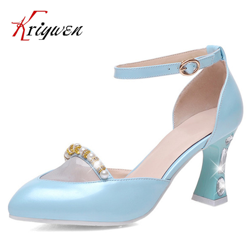 plus size 32-44 New 2016 Summer Women Sandals Fashion beading solid High Heels Party Shoes pointed toe Rome Ladies Beach Shoes new 2017 spring summer women shoes pointed toe high quality brand fashion womens flats ladies plus size 41 sweet flock t179