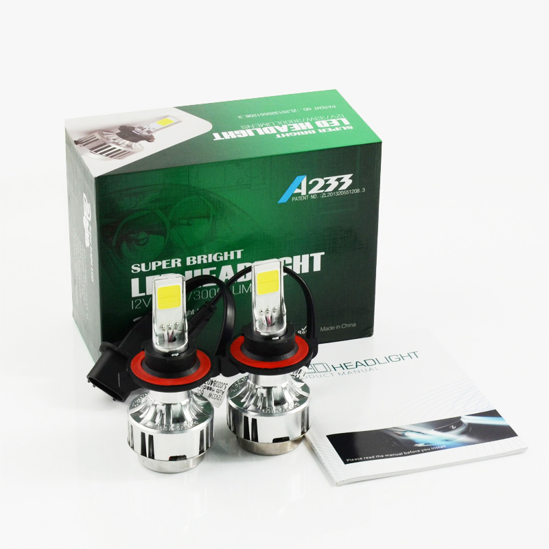 Free shipping All In One Car LED Headlight Conversion Kit 66W 6000lm H13 High Low Beam Bulb Super Bright Car Styling LED Bulb