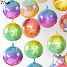 1PC 4D Disco Colorful 22 Inch Gradient Color Helium Balloon Birthday &Wedding Party Decoration Photo Props Baby Shower Supplies