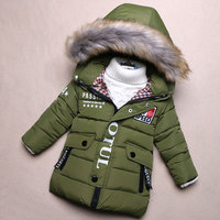 Child Baby Boy Hooded Jackets Winter Thick Warm Down Coats Newborns Boy Outerwear Sport Solid Clothing