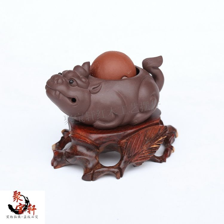 Jade flower pot holder of Buddha mammon seal carved base Rosewood wood carving handicraft furnishing articles of wood