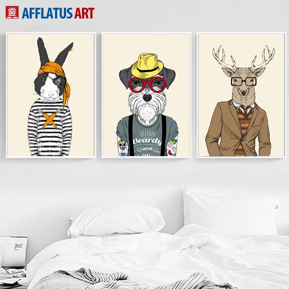 Cizgi filmi maral dovşan iti bayquş canavar divar kağızı sənət - Ev dekoru - Fotoqrafiya 3