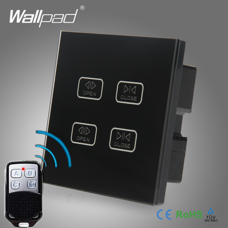 Hot Sale 4 Gang WIIFI Curtain Switch Wallpad Black Glass 4 Gang WIF Remote Controlled Touch Double Shutter Blinder Wall Switches ...